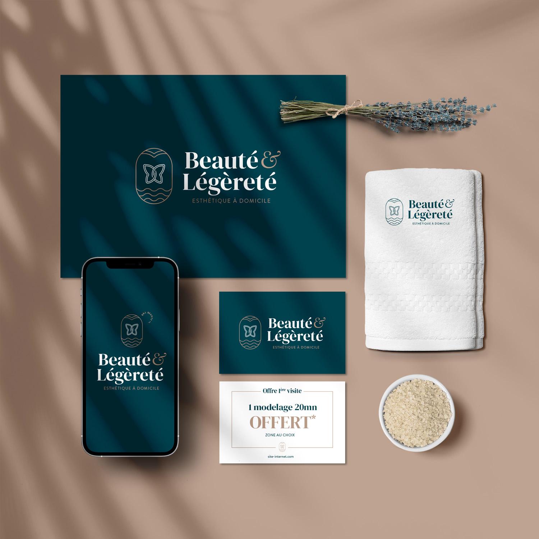 beaute et legerete beautician beauty center logo design and branding mockup