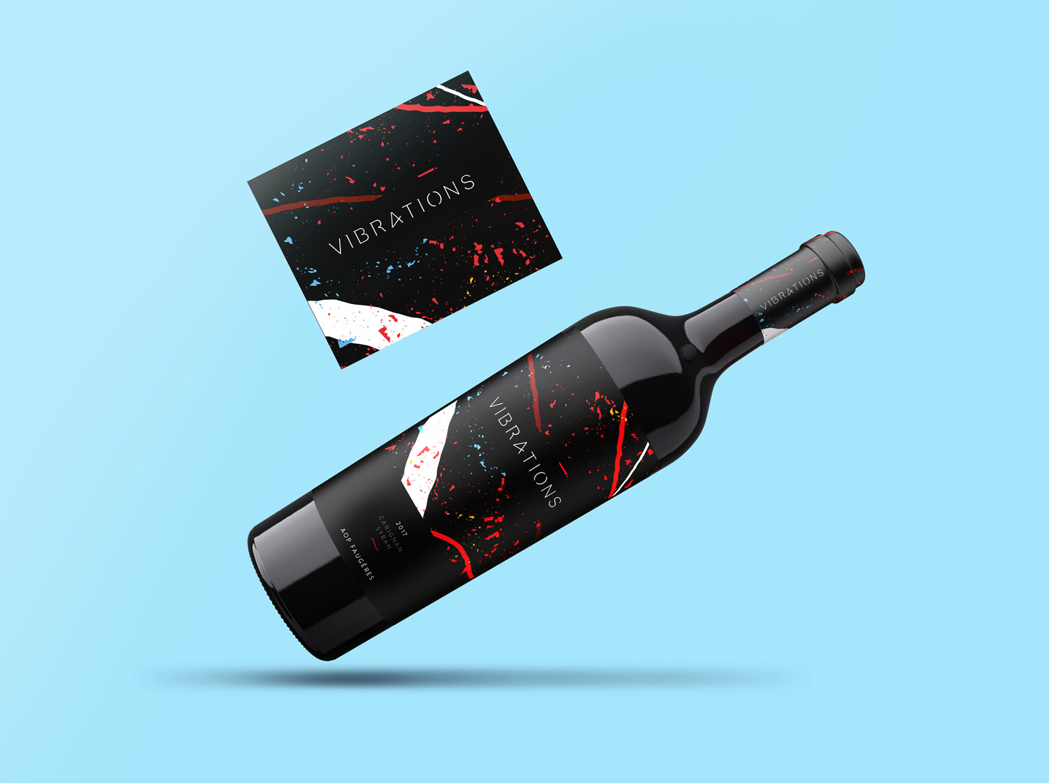 vibrations wine label design branding bottle and card on blue mockup design etiquette de vin
