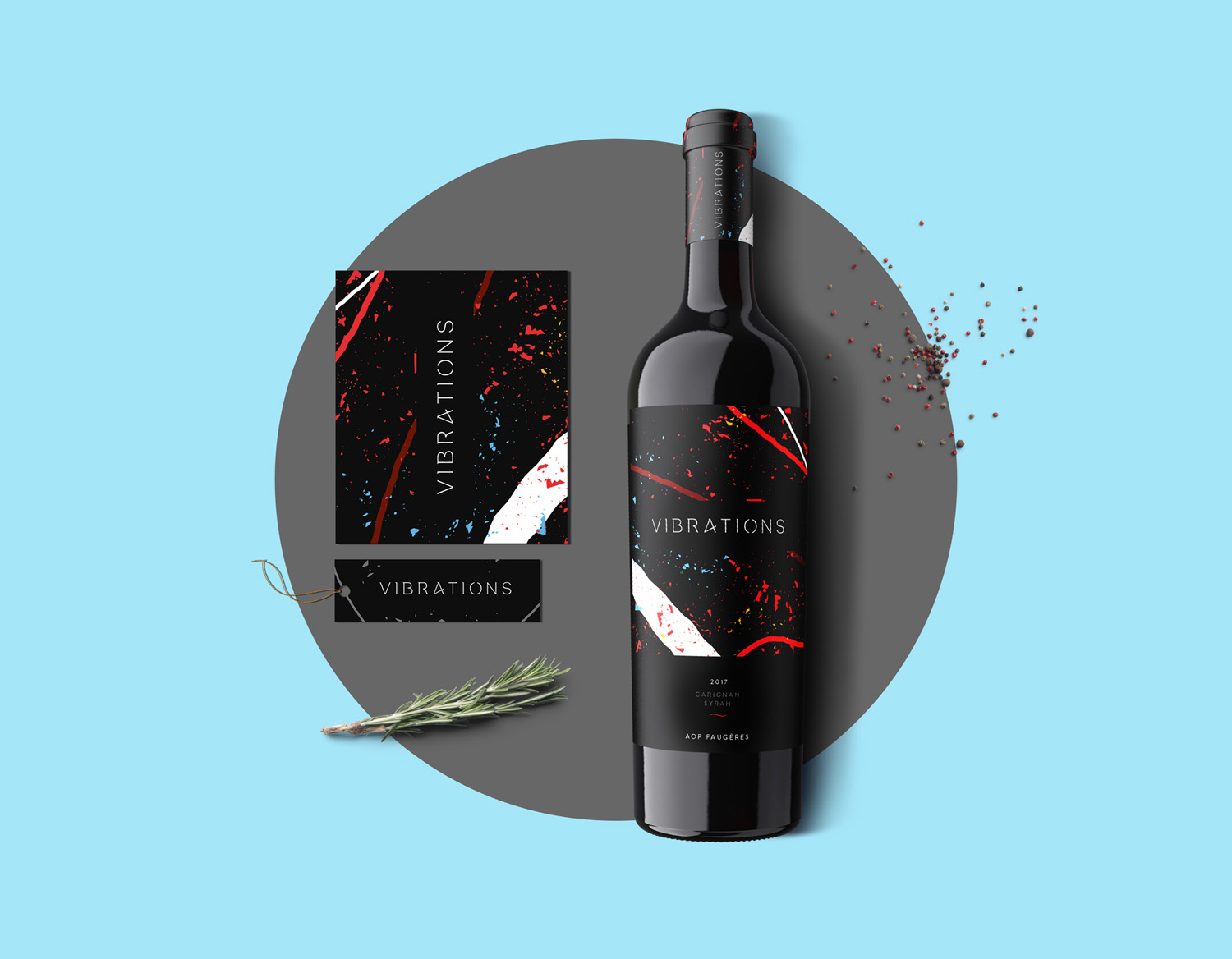vibrations wine label design branding bottle and ingredients mockup design etiquette de vin