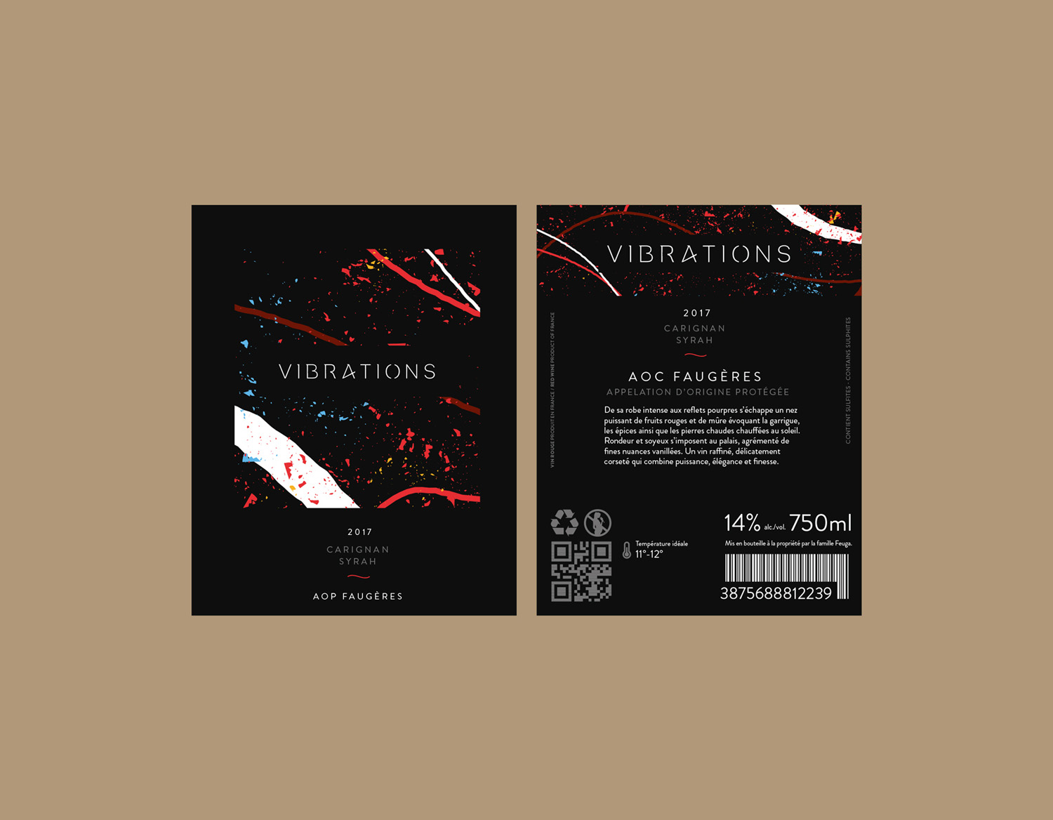 vibrations wine label design branding bottle and card mockup design etiquette de vin