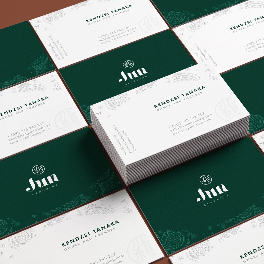 jun grooming organic cosmetics branding business cards
