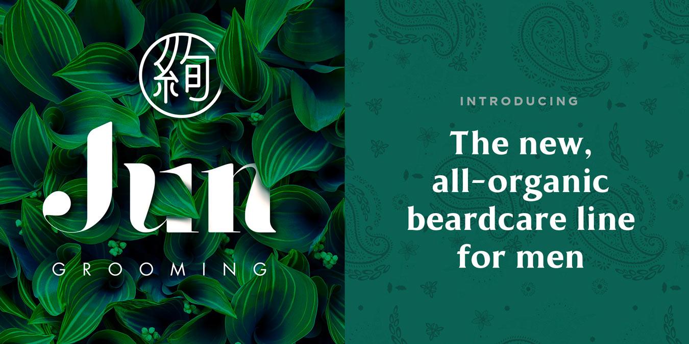 jun grooming organic cosmetics branding logo in green exotic plants header