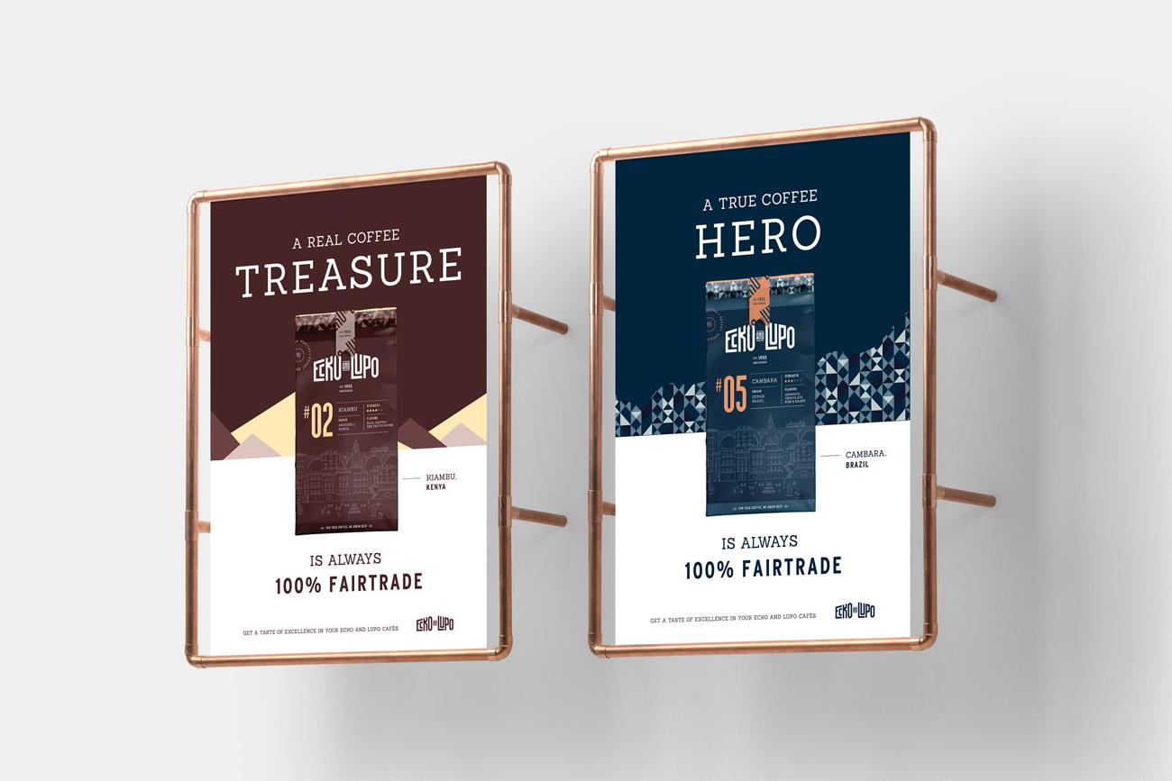 posters ecko lupo branding coffee roasters