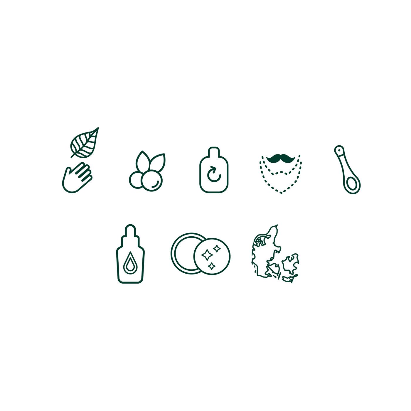 jun grooming organic cosmetics branding icons design