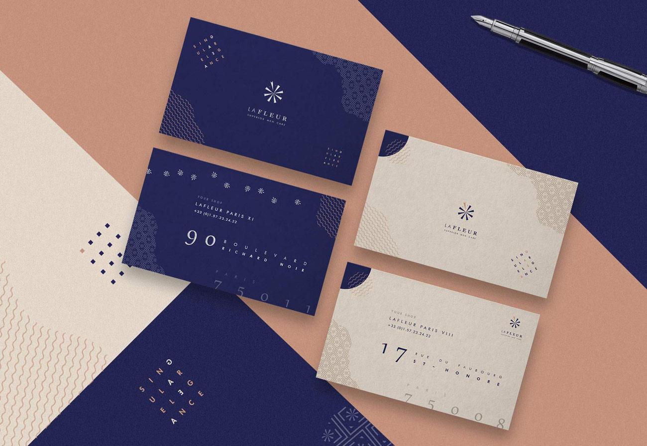 lafleur cosmetics branding business cards