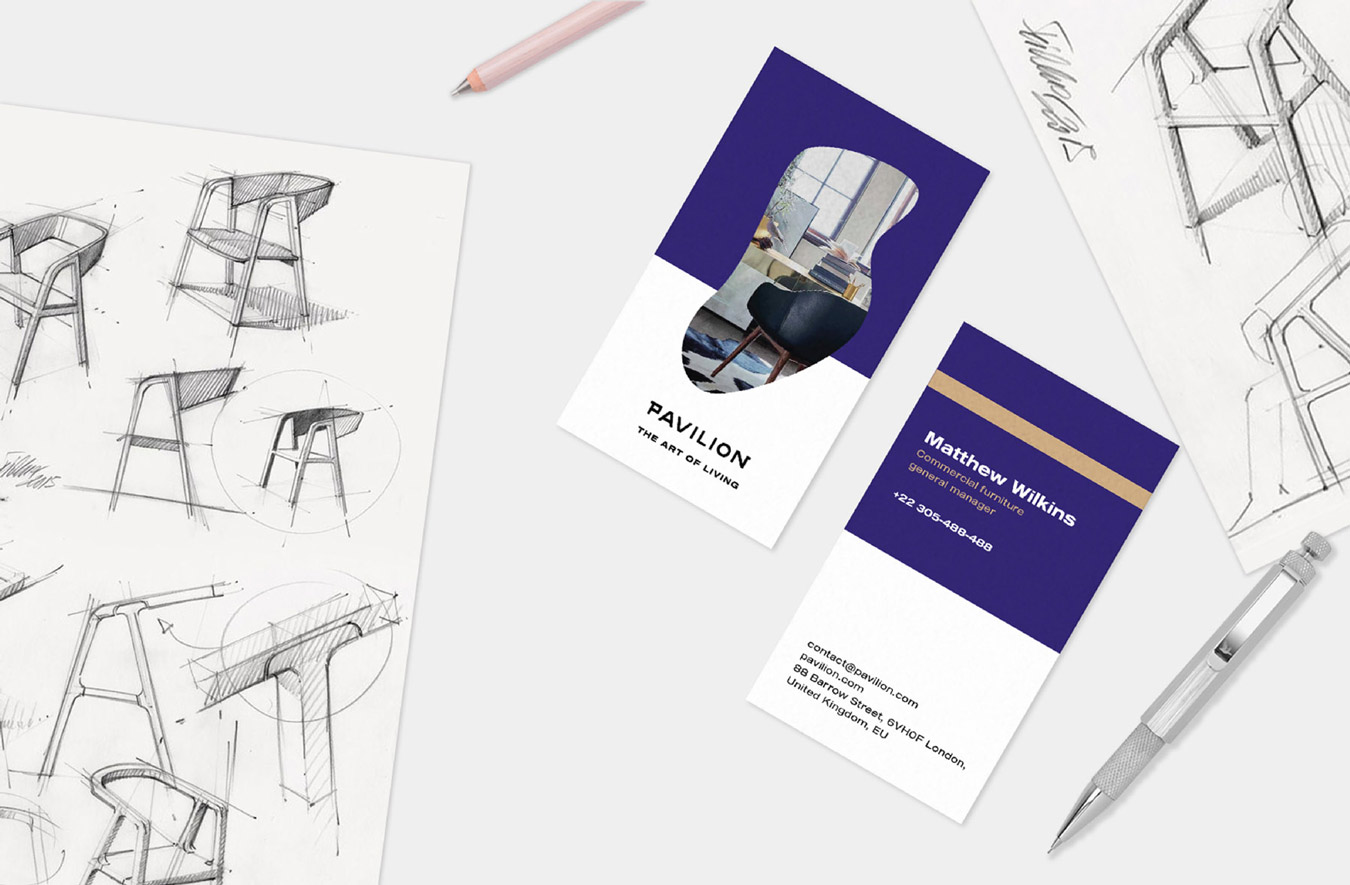 pavilion branding design furniture logo stationery scene