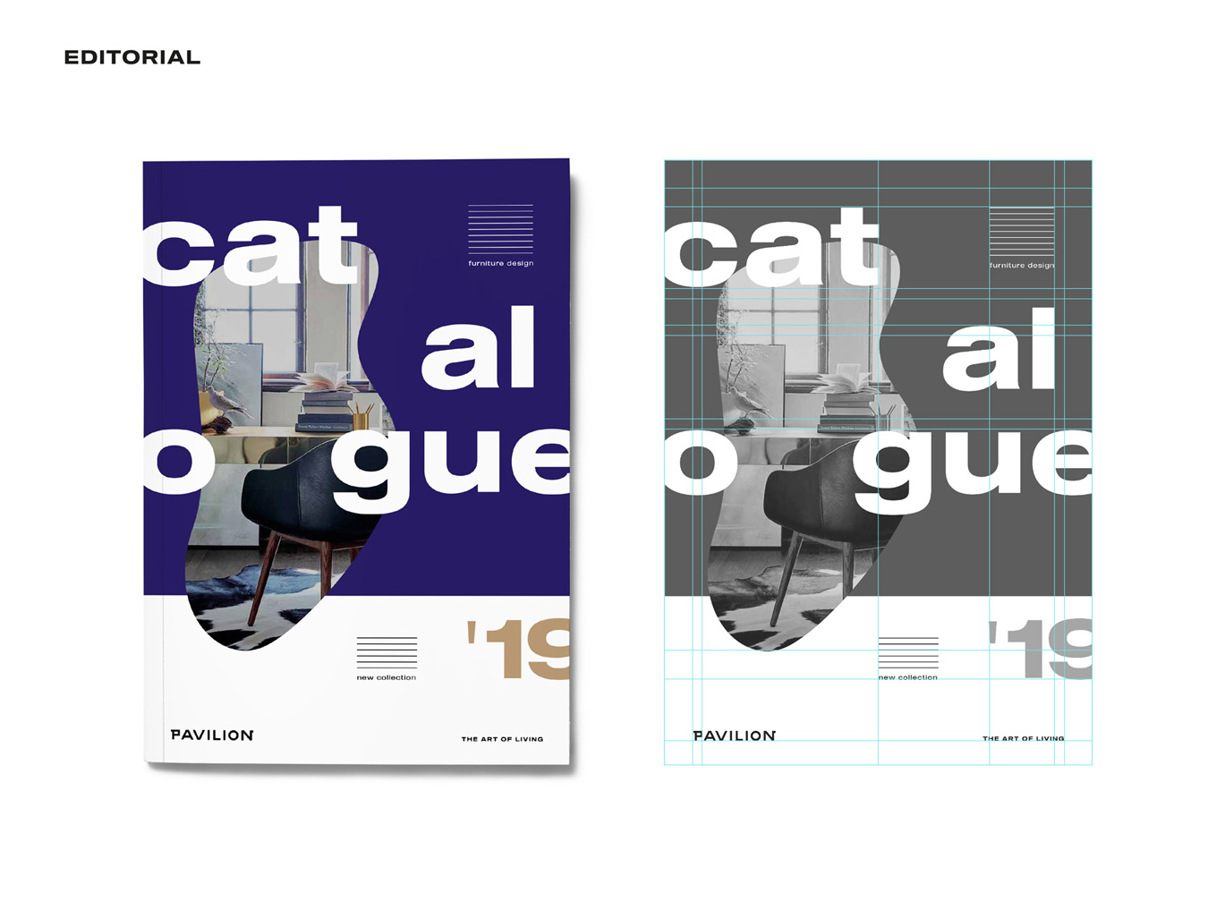 pavilion branding design furniture catalogue cover