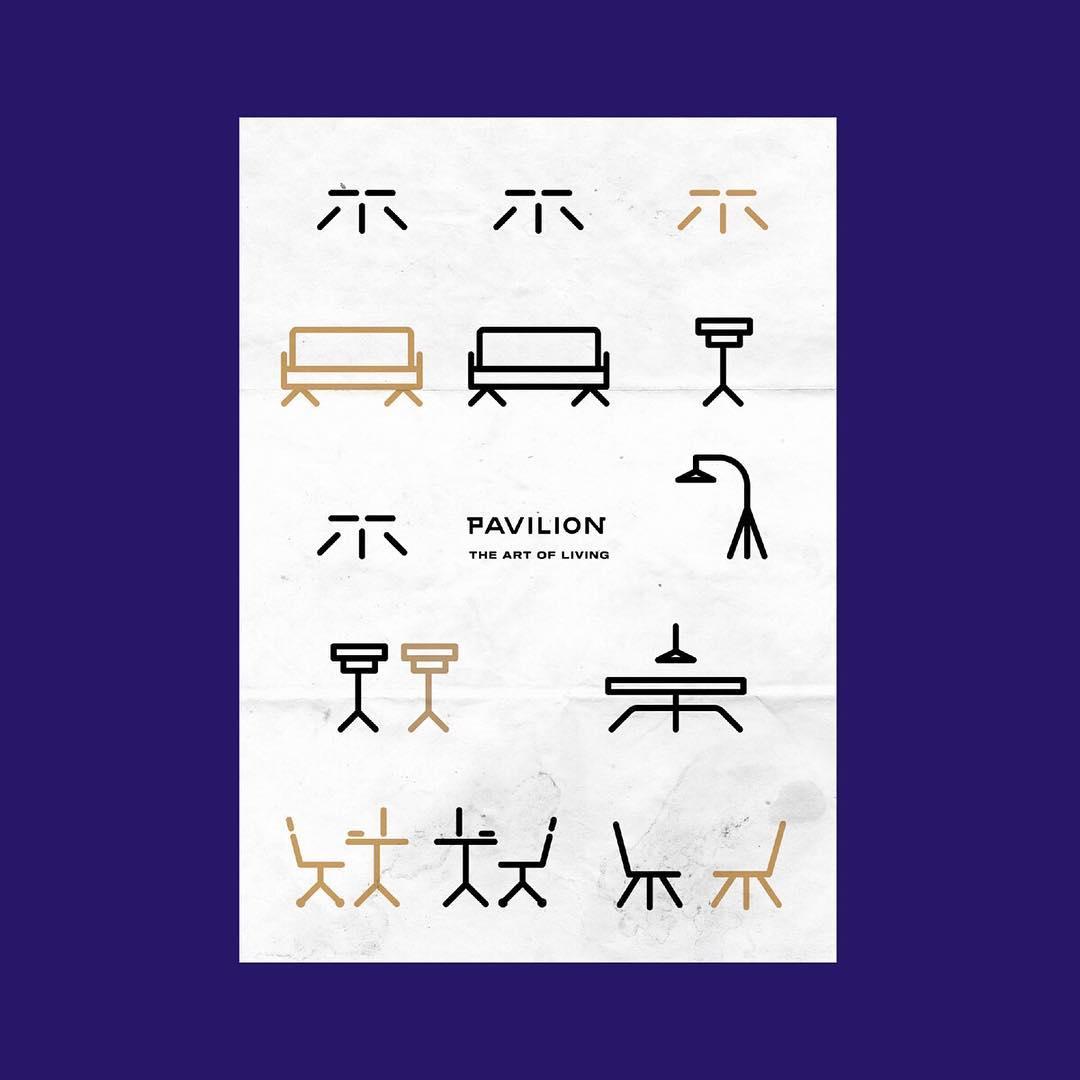 pavilion branding design furniture poster scene