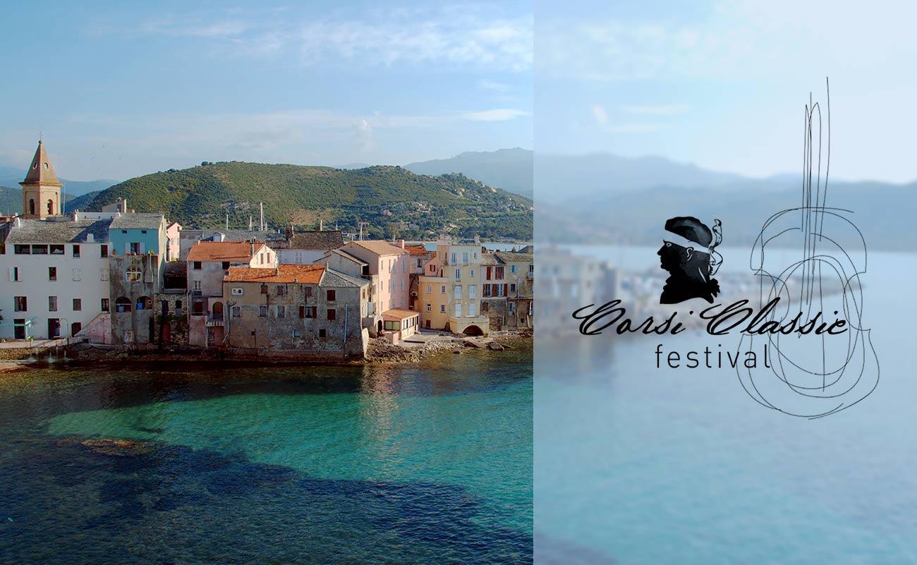 Corsiclassic festival photo de Corse port et maisons logo Corsica harbour and houses