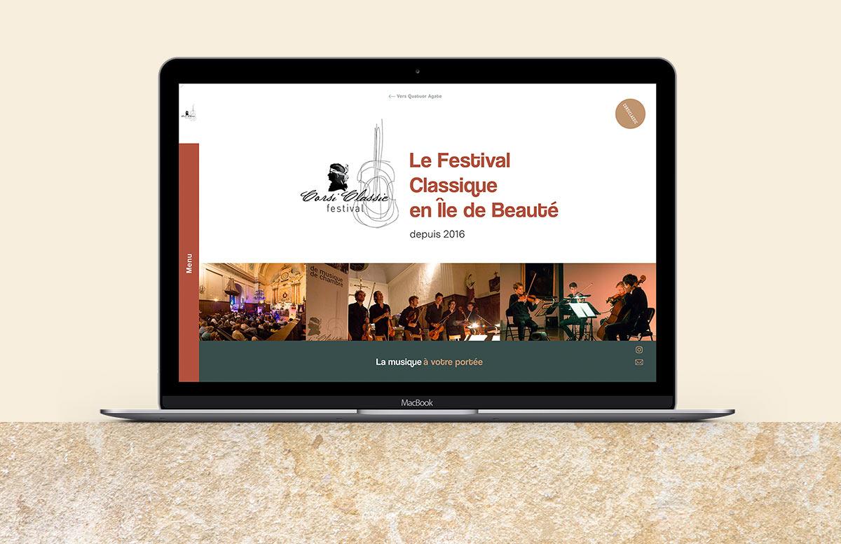 Corsiclassic festival de musique de Chambre en Corse, landing page macbook mockup