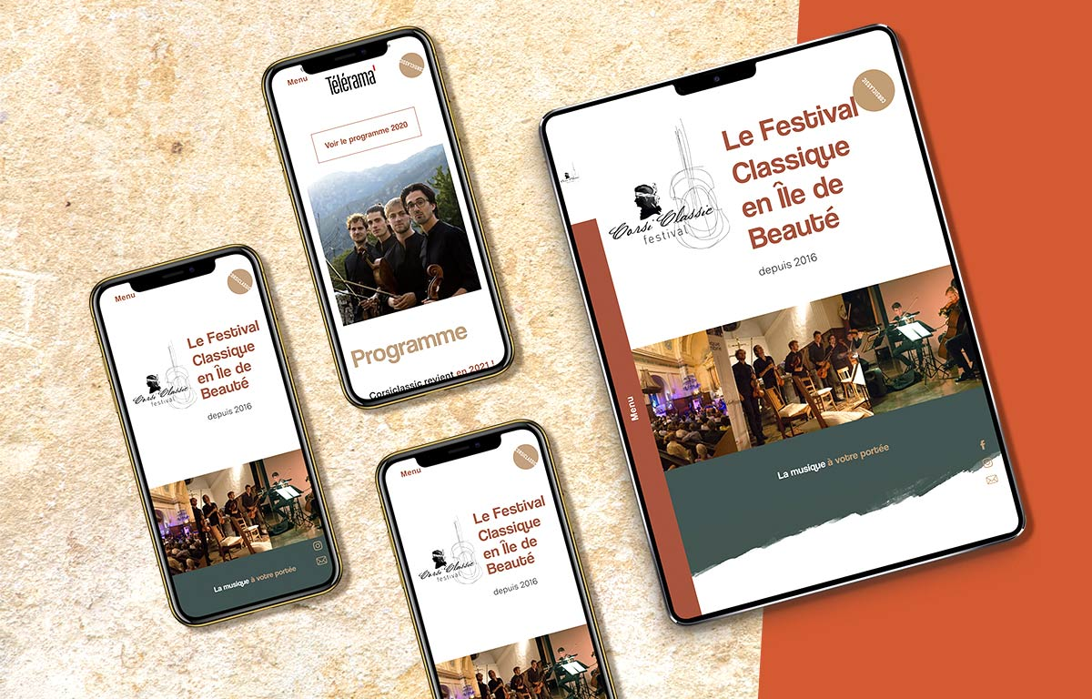 Corsiclassic festival de musique de Chambre en Corse, landing page ipad iphone mockup