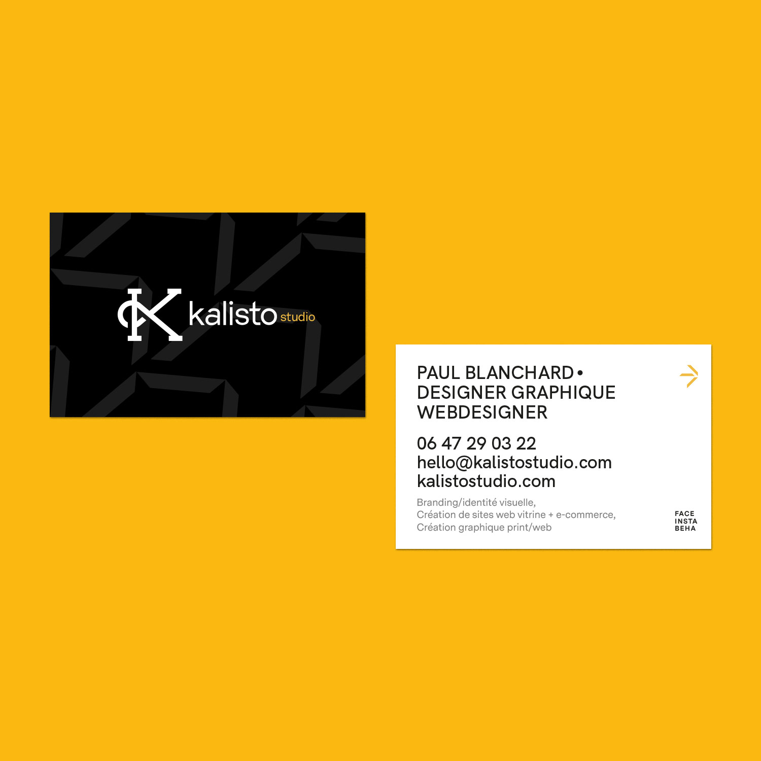 Kalisto studio business cards mockup personal branding and icon set branding graphic design webdesign