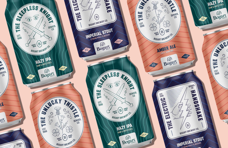 Bogart brewery craft brewery branding coaster beer can mockup Kalistostudio craft beer design