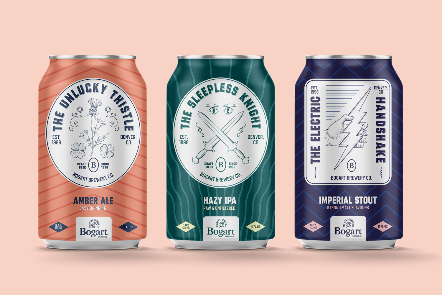 branding project and packaging design and logo design for a brewery and beer can packaging design