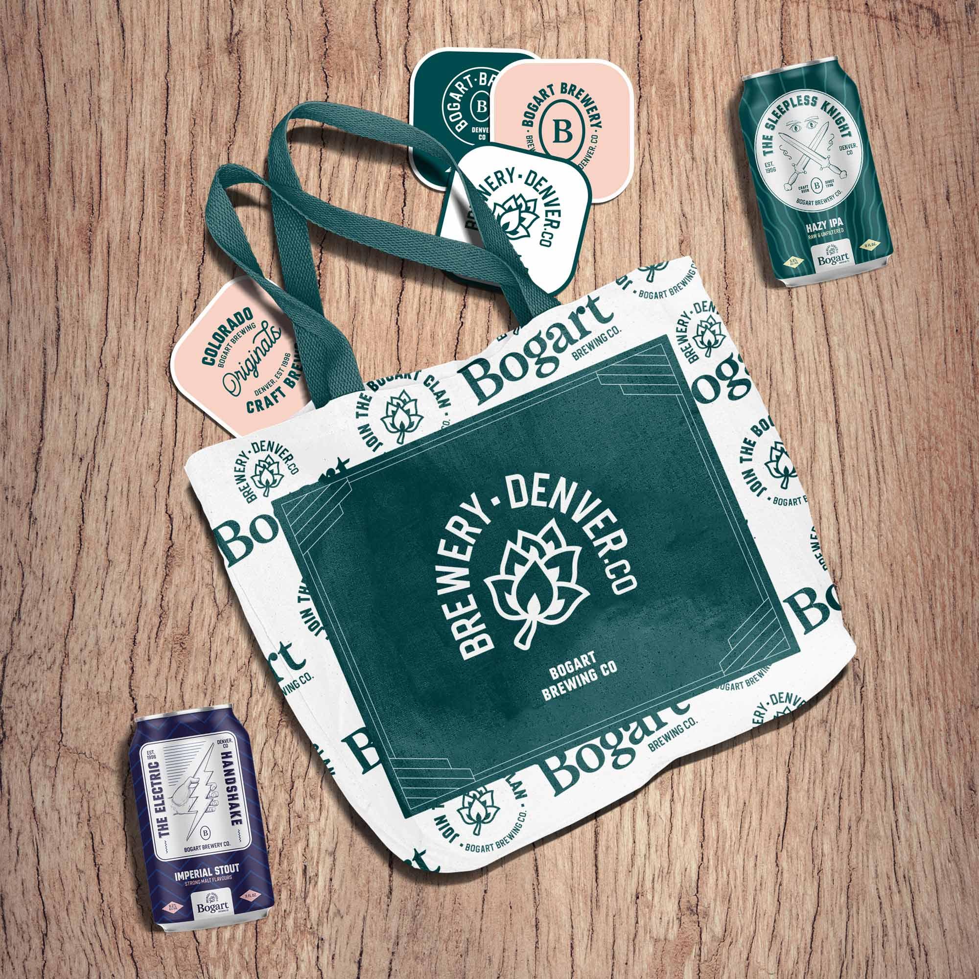 Bogart brewery craft brewery branding tote bag and beer cans mockup Kalistostudio craft beer design