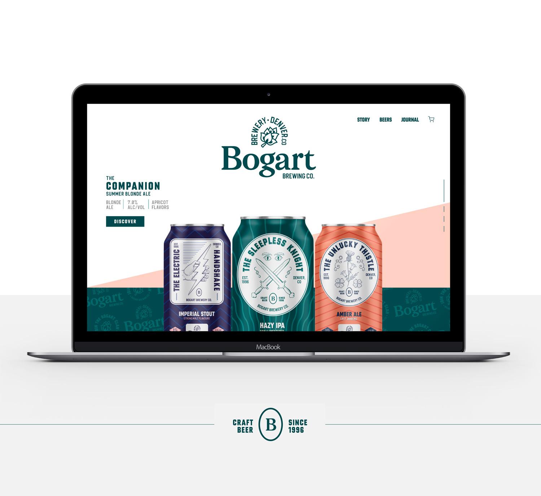 Bogart brewery craft brewery branding macbook and beer cans mockup Kalistostudio craft beer design